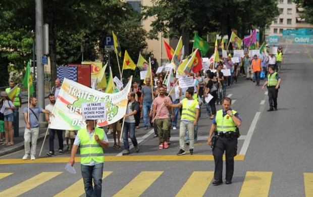 Kurds protest the 94th anniversary of the Treaty of Lausanne